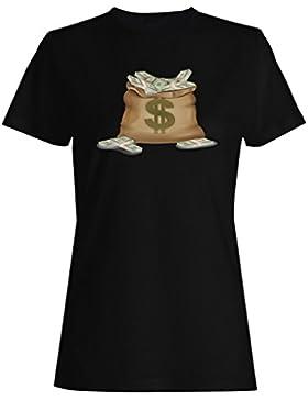 Dólares gracioso camiseta de las mujeres b300f