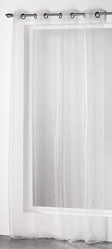 Douceur D'Intérieur  – 1623241, Gardine Mit Osen , 140 X 240 Cm , Silvery , Organza Fäden Silber , Weiss