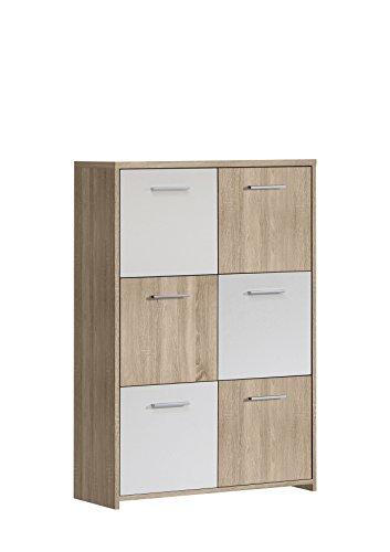 NEWFACE Kommode, Holz, Sonoma Eiche Dekor Kombiniert Mit Weiß, 77.2 x 29.6 x 112.7 cm