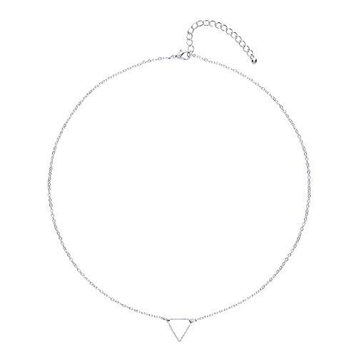 Front Row collar mujer color de plata diseño 'triángulo abierto' - longitud...