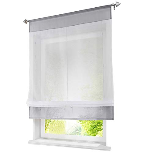 1Pc Store Romain Passe Tringle LxH 60x120cm Gris Rideau Voilage Transparent  Raffrollo Décoration de Fenêtre 908d4b1be27d
