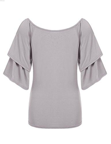 cooshional Damen T-shirt Schulterfrei Oberteil Top Off Shoulder Tunika Grau