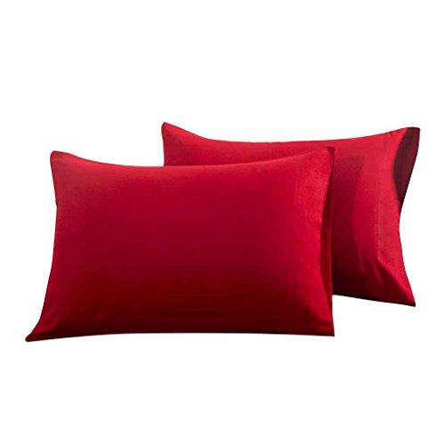 Meisijia 2pcs Umschlag Typ Pillowcase Fest Polyester Rechteck Schlafzimmer Kissenbezug Home Office-Kissen-Schutz-Fall (Keine Nähen Kissen)