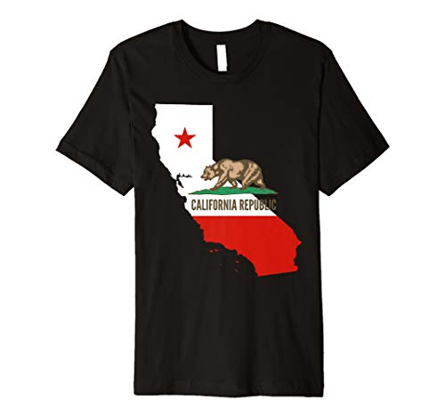 CALIFORNIA - State flag and outline TShirt Star Bear -