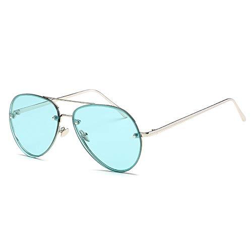Tianzhiyi Draussen Fashion Aviator Sonnenbrille mit reflektierenden verspiegelten Gläsern Sonnenbrille mit UV-Schutz Designer für Unisex Herren und Damen - Silberrahmen mit grüner Linse