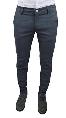 Pantaloni Uomo C. Battistini Jeans Grigio Scuro Sartoriale Slim Fit Aderente Invernale Casual
