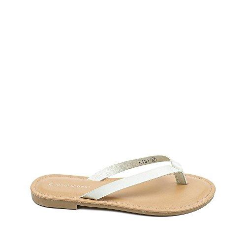 Ideal Shoes Tongs fluorescentes en Similicuir Josette Vert