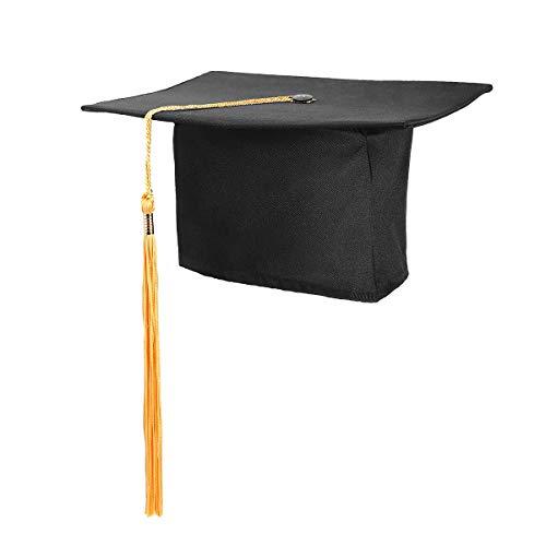 Lehrer Zubehör Kostüm - Supvox Abiturmütze Deckel Kostüm Zubehör Erwachsene Lehrer Mörtel Bord Verstellbare Kappe 1 STÜCK (Schwarz + Gelb Flussrate)