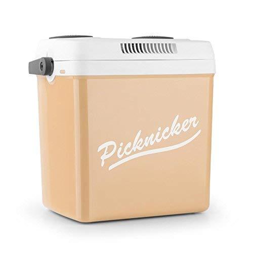 Klarstein Picknicker XL Borsa Termica Elettrica Caldo/Freddo Multifunzione Da Pic Nic Campeggio (32 litri, CLASSE A++, Adattatore auto 12 V incluso, posto per 8 bottiglie da 1 litro) beige