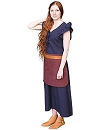 Robe médiévale avec tablier manches courtes coton pour dame bleu