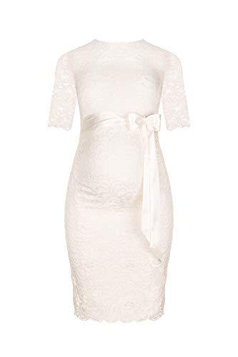 Festliches weißes Umstandskleid mit Schleife