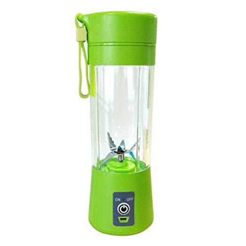 HshDUti 400ml Portable Mixer USB Wiederaufladbare Obst Gemüse Saft Tasse Flaschenmischer Grinder Crusher Green (Schleifer Für Weed Green)