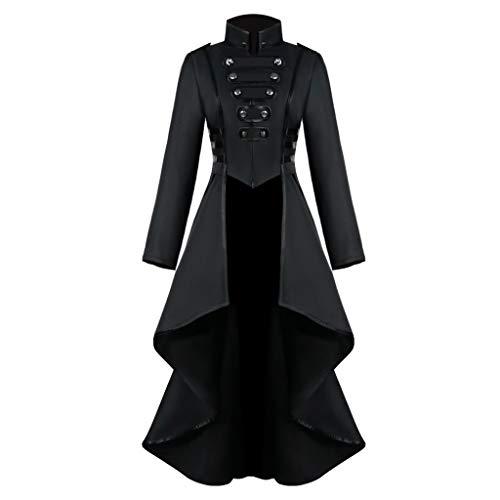 Baumstämme Kostüm - Toasye Damen Button Lace Steampunk Vintage Gothic Long Coat Frauen Langärmelige Taille Rücken Bandage Stitching Overcoat Kostüm Cosplay Kostüm Smoking UniformButton Lange Jacke