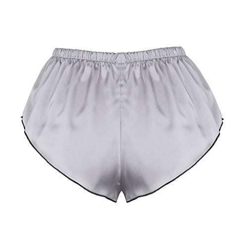 BBring 2020 Neu Einfarbig Satin Tanga M Grau 489155 (Bikini Bottom up Bikinislip G-String V-String Höschen Hipster ReizwäSche Unterhosen Panties Sportunterwäsche Bodywear) - 2
