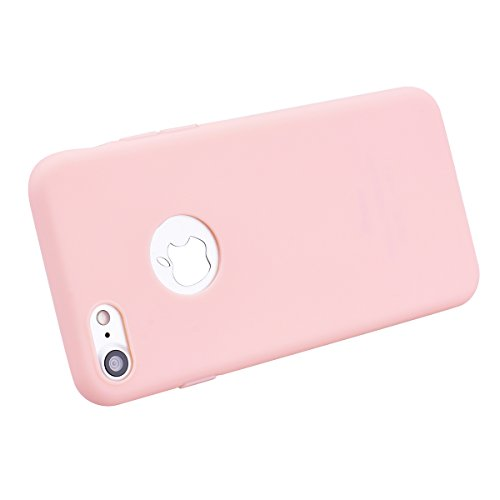SMART LEGEND Weiche Hülle für iPhone 7 Plus Handyhülle Silikon Bumper Einfarbig Schutzhülle Etui Ultra Slim TPU Handytasche Soft Case Silicon Backcover Dünne Schale - Weiß Rosa