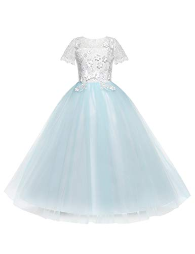 besbomig Schulmädchen Prinzessin Abendkleid - Kurzer Ärmel Blumenspitze Dekor Hochzeit Brautjungfer Tanzen Party Kleid (Für Dekor Hochzeiten)
