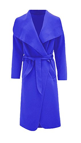 Hina Fashion Frauen-Damen Italienisch Wasserfall Belted Langarm-Mantel-Jacken-Top (One Size Fits 8-16, Blau) Mantel Top Coat