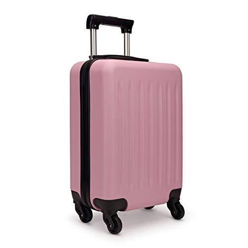 """Kono 19 Inch Hard Shell Hand Luggage Suitcases with 4 Spinner Wheels Lightweight Cabin Carry-on Small Travel Trolley Case(19"""", Pink)"""