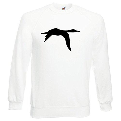 Flying Black Duck (Black Dragon - Sweatshirt Herren & Damen weiß - L - Fruit of the Loom - bedruckt - mit farbigem Brustaufdruck - DUCK 2 - Hunter Flying Bird)