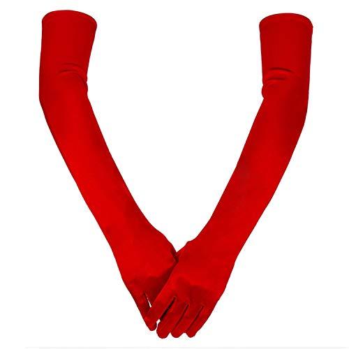 guanti rossi YouU Guanti Neri Lunghi Long Gloves per Donna Guanti di Raso Guanti a Gomito Guanti da Opera 1920 Accessori,21 Pollici (Rosso)