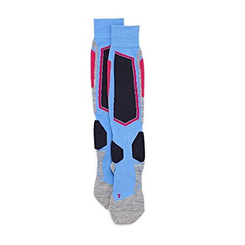FALKE Damen Skisocken SK2, Merinowollmischung, 1 Paar, Blau (Blue Note 6545), Größe: 37-38