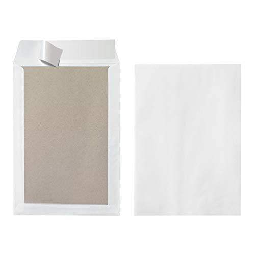Herlitz 10901049 Versandtasche B4 mit Papprückwand, Haftklebung, weiß (100 Stück)