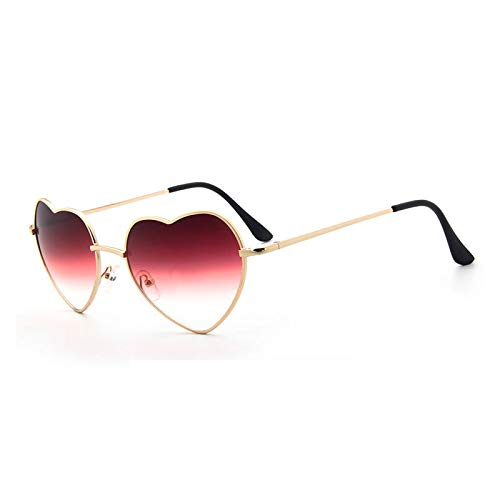 YLYZJH Heart Shaped Sunglasses Frauen Metall klare rote Brille Herz Sonnenbrille