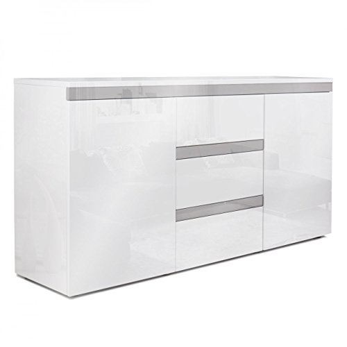 Homelux Sideboard Kommode Anrichte Hochglanzoptik Lackiert Push to Open-Funktion 139 x 35 x 72 cm Grau