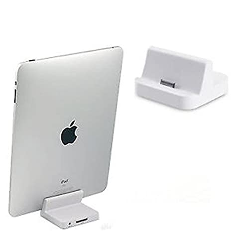 TheMax® New White Sync Charger Dock Docking Cradle Station 30 Pin Audio For iPad 1st Generation, iPad 2, iPad 3rd Generation, For Apple iPhone 4S, For Apple iPhone 4, For Apple iPhone 3GS, For Apple iPhone 3G, For Apple iPhone 2G, For Apple iPhone 1st Generation (iPad2-White)