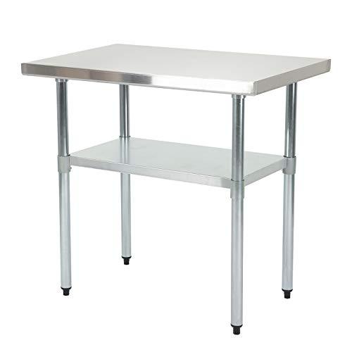 SUNCOO Zubereitungstisch Edelstahl-Tisch Arbeitstisch Küche Tisch mit Einstellbarer Großer Ablagefläche Küche-,Restaurant-, und Arbeitsvorbereitungstisch 91,5 * 61 * 90 cm (L * B * H) -