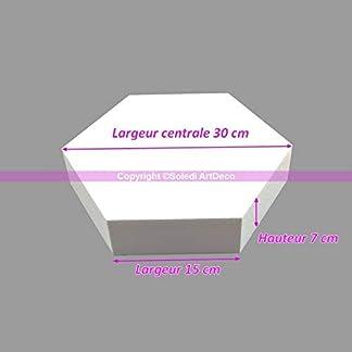 Lealoo – Base Plana Hexagonal 2D de poliestireno, 30 cm de Ancho, 6 Lados a 15 cm, 7 cm de Grosor.