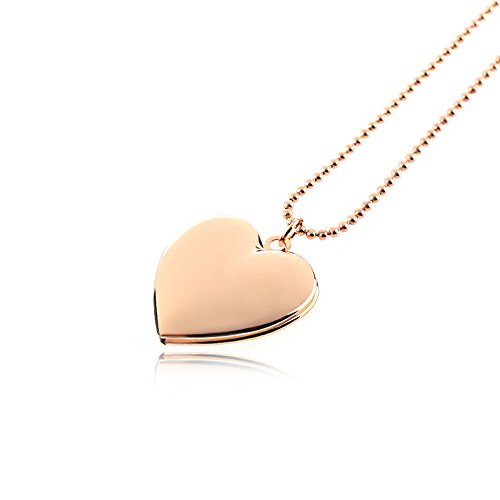 Dharshana Trends 18K Rose Gold Plated Heart Photo Pendant Necklace for Girls and Women