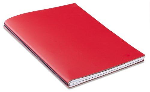 X17–ModeSkin Notizbuch, A4+, incl. 2Einsätze und Fach doppelt, mit Einband aus Leder A4+ rot