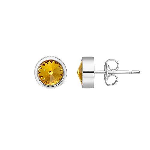Heideman Ohrringe Damen Coma aus Edelstahl silber farbend poliert Ohrstecker für Frauen mit Swarovski Stein Kristall gelb im Fantasie Edelsteinschliff 6mm