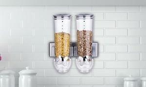 Dispensador de cereal doble triple con montaje en la pared, contenedor de alimentos secos en 2 colores (doble, plata)