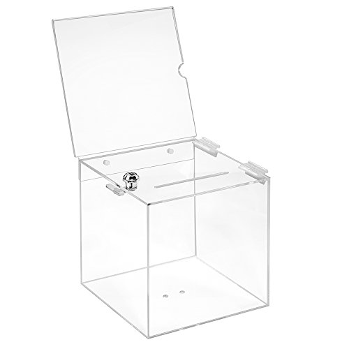 Losbox in vetro acrilico in 200 x 200 x 200 mm con serratura e targhetta 210 x 210 mm - Zeigis/scatola per donazioni/scatola gioco di profitto/trasparente/acrilico/Plexiglas/chiudibile/bloccabile