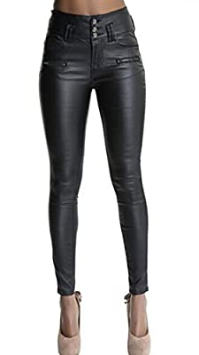 Ecupper Womens Leather Look Trousers High Waist Coated Skinny Jeans