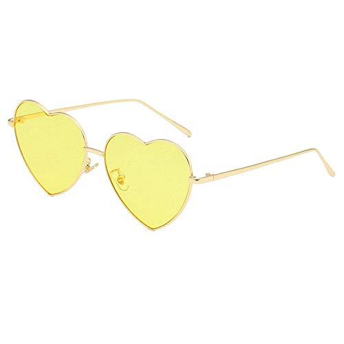 Sonnenbrille,Sexy Sonnenbrille Frauen Kies Sonnenbrille Für Männer Vintage Liebe Herz Form Sommer Weiblich Schattierungen Gelb