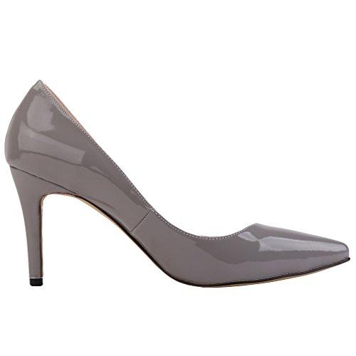 Xianshu Women Patent Leather High Heel Shoes Pointed Toe Shallow Mouth Stiletto Pumps(Grey-36 EU) -