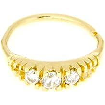 Mia Gioielli–Nariz Piercing oro amarillo 18K (750) nariz anillo Hoop 8x 0.7mm
