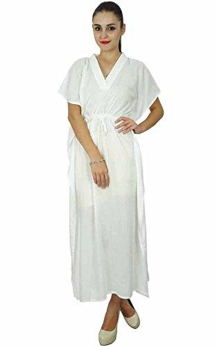 Bimba femmes caftan à long solide plage de coton doux couvrir caftan maxi  Blanc 8ac71502ae6