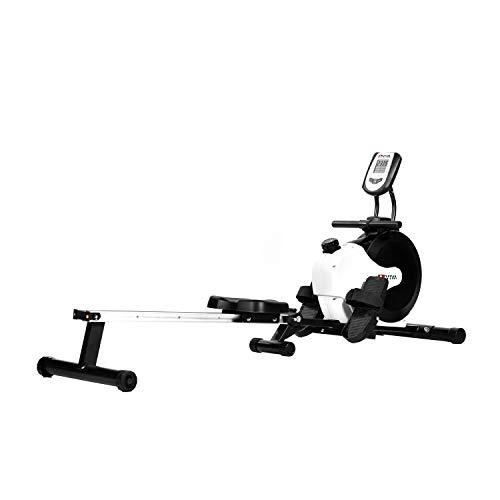 AsVIVA RA11 Rudergerät Ergometer Rower Cardio XI mit 8 manuellen Widerstandsstufen inkl. Multifunktionscompukter mit Pulsmessung für das Ausdauertraining zu Hause und klappbar (Weiß/Schwarz)