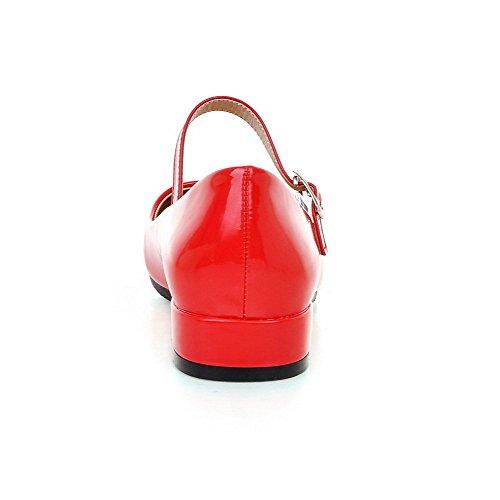AgooLar Damen Pu Leder Niedriger Absatz Quadratisch Zehe Rein Schnalle Pumps Schuhe Rot