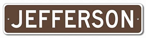 mefoll Wall Decor Sign Jefferson 4x16 Tin Sign Road Yard Metal Sign Notice Home Bar Decor by -