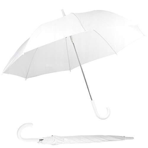 H&F | Regenschirm Hochzeit Größe R 117 cm / 130 cm Eleganter Stabiler Automatik Weiß Groß XXL Partnerschirm/Zwei Personen XXL Partnerschirm/Zwei Personen