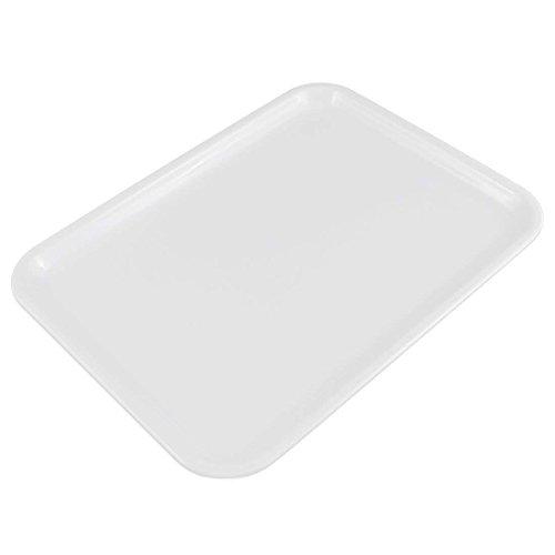 Milopon Tablett Serviertablett Kunststoff Rechteckiges Esstablett Servierplatten Tablett für Gastronomie Restaurant Pub Bar (L, Weiß)