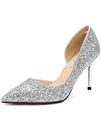 6c72220a4f7c Escarpins Hauts Talons pour Femmes Chaussures Bling Paillettes Bicolore  Pumps Soirée Chaussure