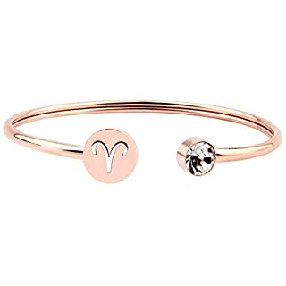 Ensianth Simple Rose Gold Zodiac Sign Cuff Bracelet with Birthstone Birthday Gift for Women Girls (Aries)