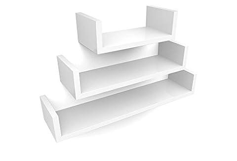 HOMFA Set of 3 U-Shaped Floating Shelves Wall Shelf Display Storage Unit White