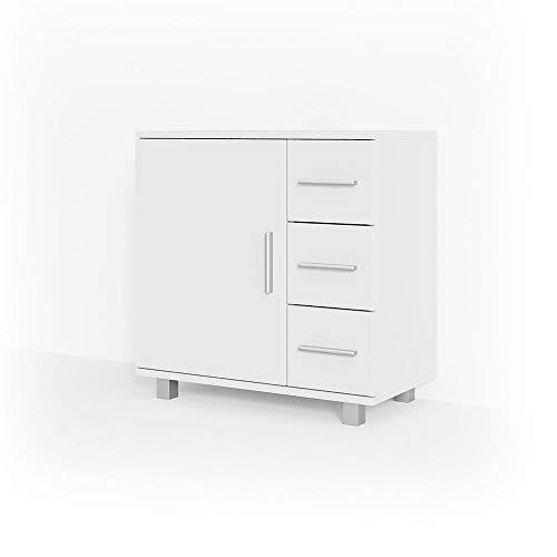 Vicco Waschtischunterschrank Ilias Badschrank Badezimmerschrank Waschbeckenunterschrank Unterstellschrank (Weiß)